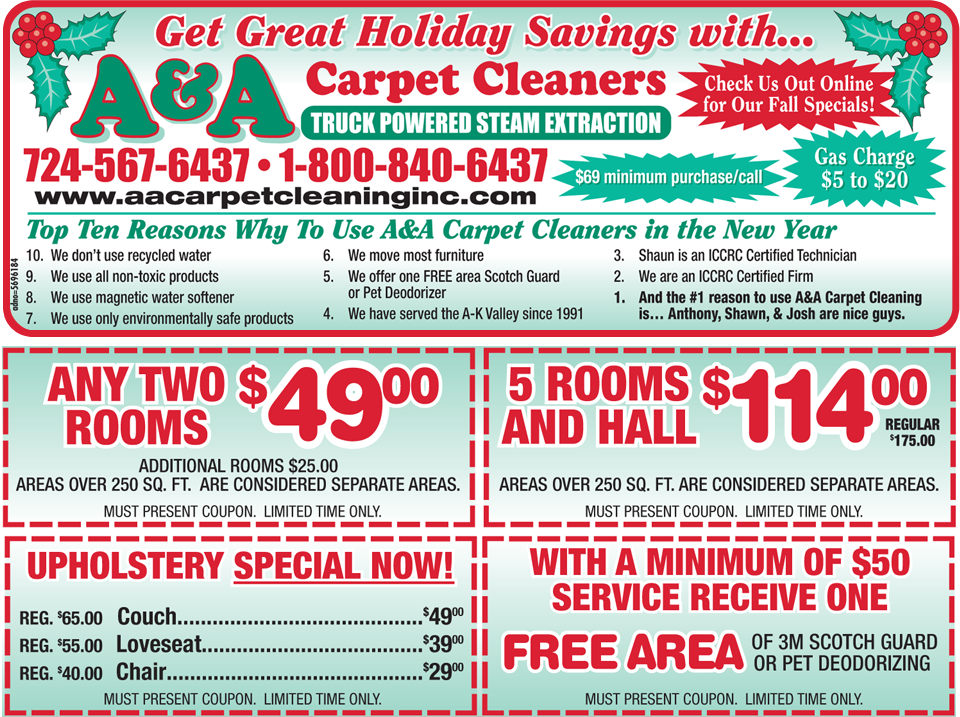 Monthly Specials AA Carpet Cleaners